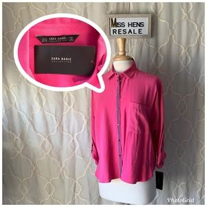NEW ZARA BASIC COLLECTION HOT PINK BUTTON UP
